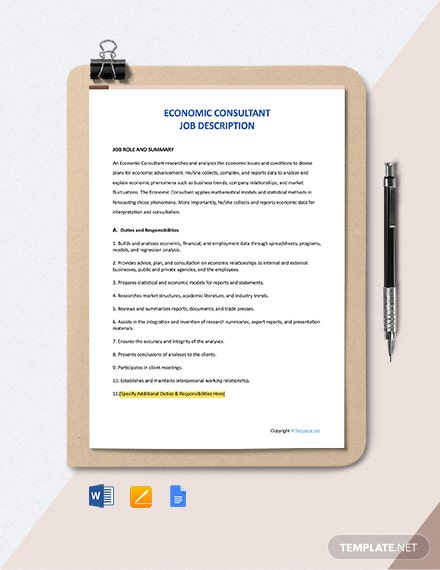 Free Economic Consultant Job Ad and Description Template