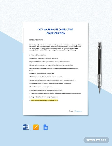 Free Data Warehouse Consultant Job Ad and Description Template
