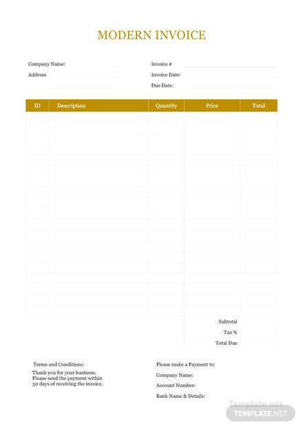 modern invoice template download 78 invoices in word excel pdf