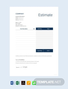 Free Blank Estimate Template