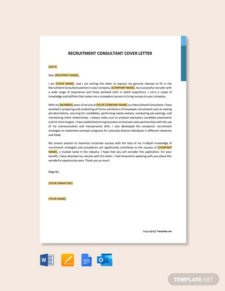 Free Recruitment Consultant Cover Letter Template
