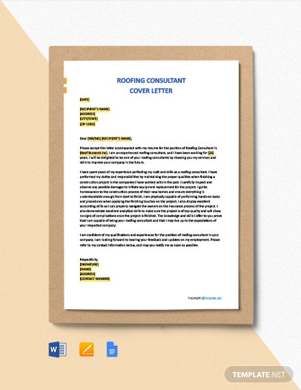 Free Roofing Consultant Cover Letter Template