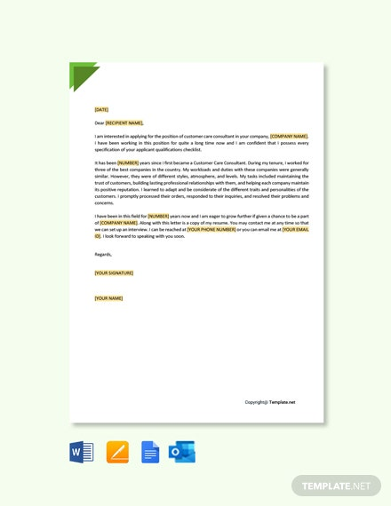 Free Customer Care Consultant Cover Letter Template