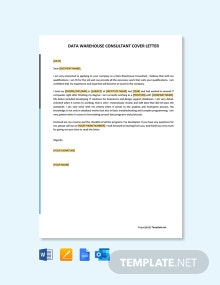 Free Data Warehouse Consultant Cover Letter Template