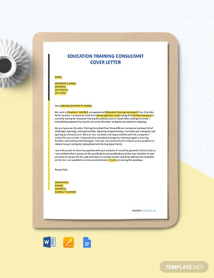 Free Education Training Consultant Cover Letter Template