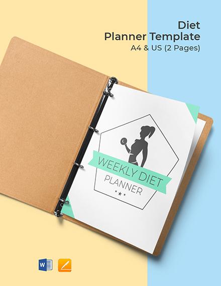 Free Diet Planner Template