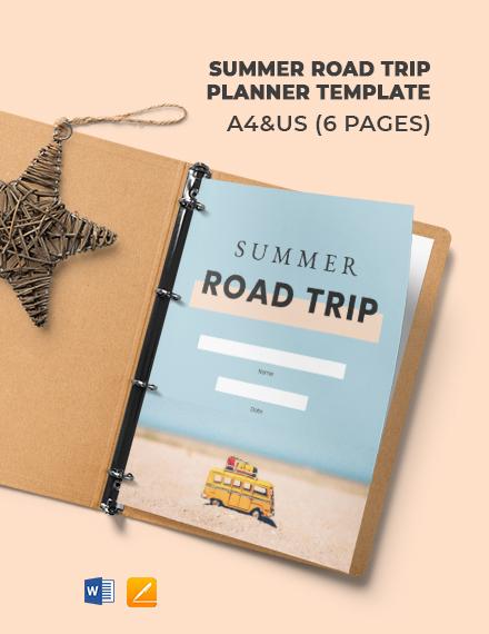 Summer Road Trip Planner Template