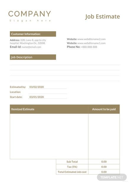 job estimate template download 239 sheets in word excel pages
