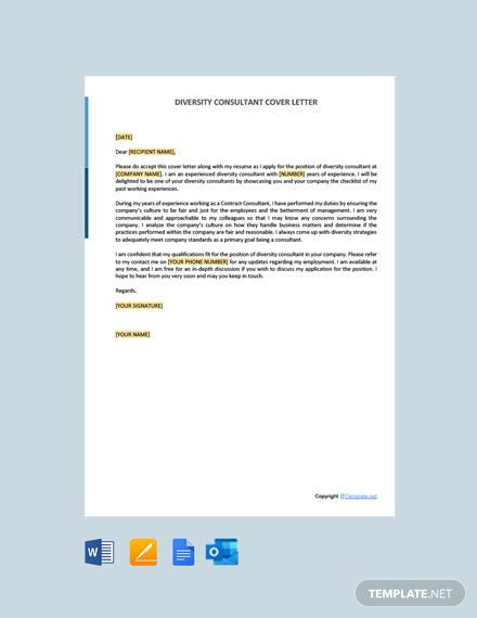 Free Diversity Consultant Cover Letter Template