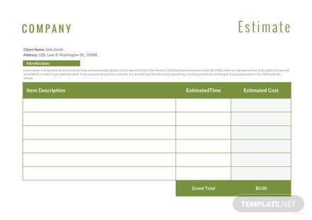 Free Landscaping Estimate Template