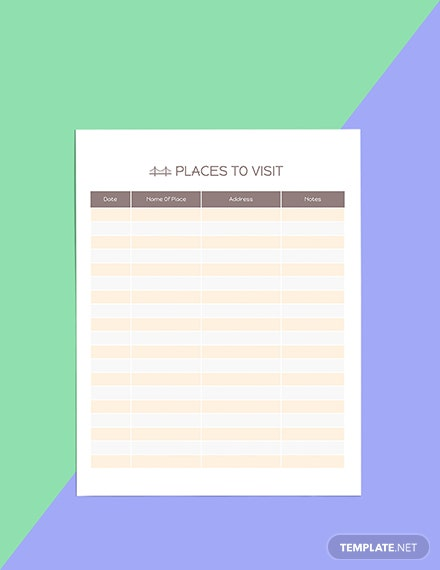 Printable Trip Planner template Download