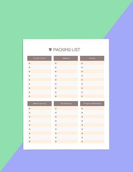 Printable Trip Planner template Format