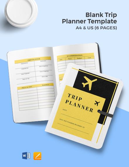 Free Blank Trip Planner Template