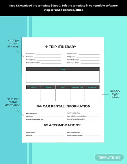 Business Vacation Planner template Editable