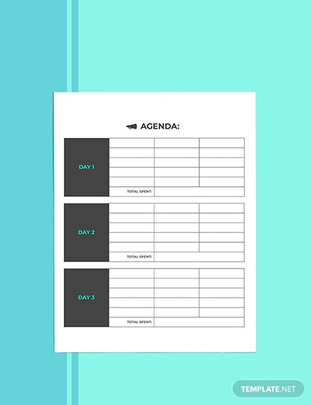 Business Vacation Planner template Sample