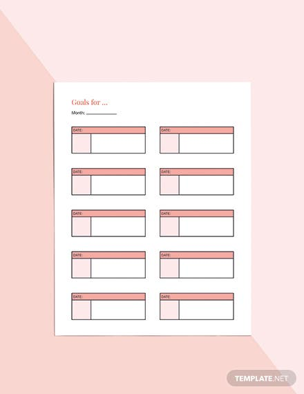 Monthly Life Planner Template Sample