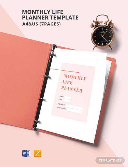 Monthly Life Planner Template