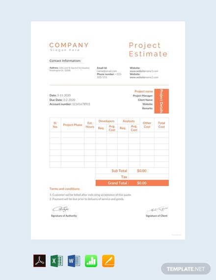 Free Project Estimate Template