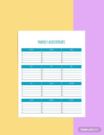 Yearly Life Planner template Example