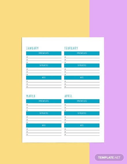 Yearly Life Planner template Format