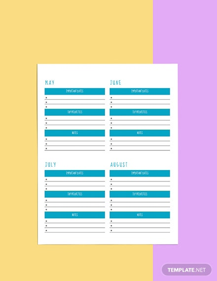 Yearly Life Planner template Sample