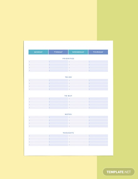 Notes Life Planner template Format