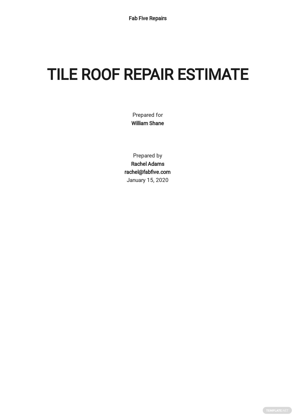 Repair Estimate Template