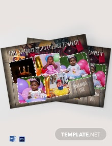 First Birthday Photo Collage Template