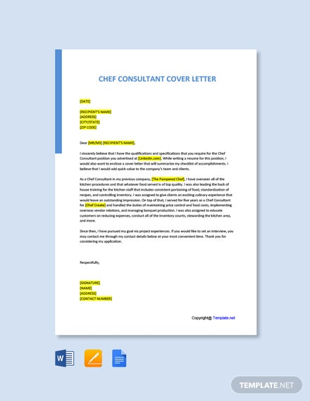 Free Chef Consultant Cover Letter Template