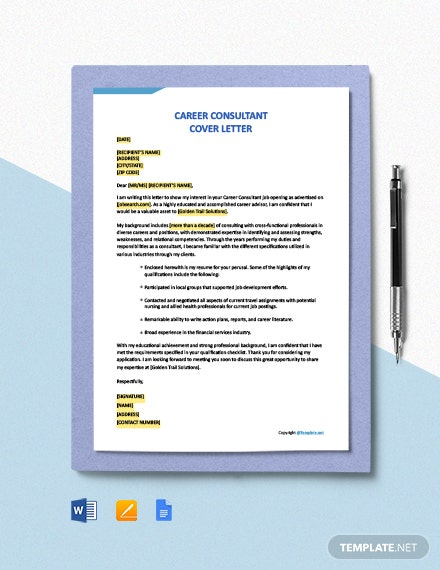 Free Career Consultant Cover Letter Template