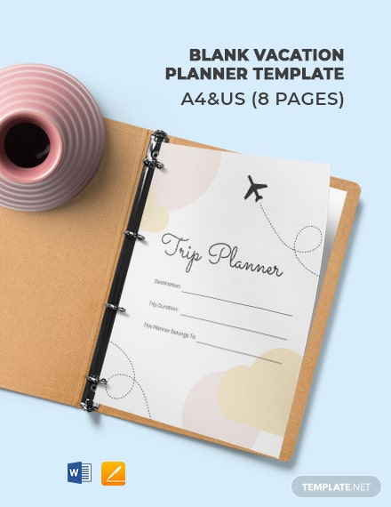 Free Blank Vacation Planner Template