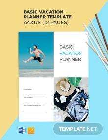 Free Basic Vacation Planner Template