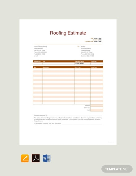 Free Roofing Estimate Template