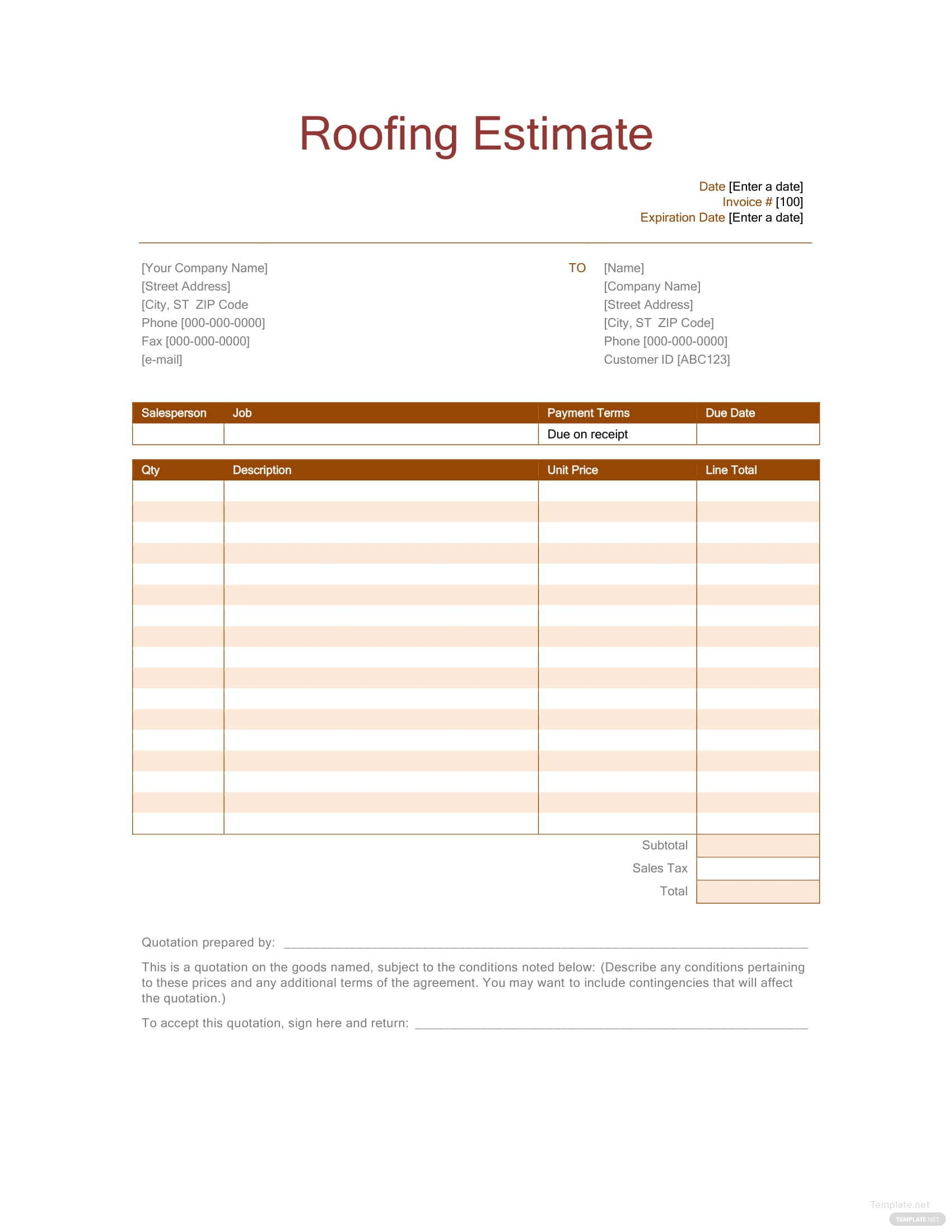 Roofing Estimate Template In Microsoft Word Excel