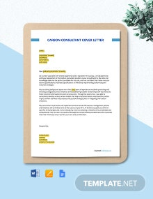 Free Carbon Consultant Cover Letter Template