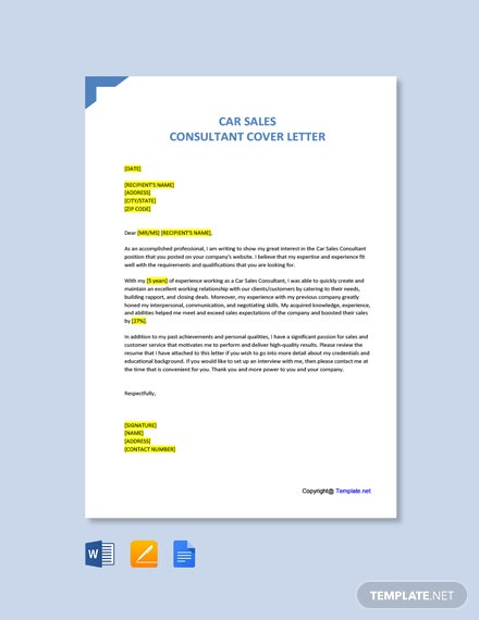 Free Car Sales Consultant Cover Letter Template