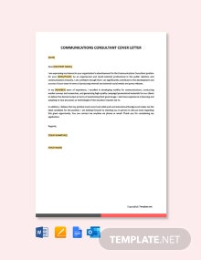 Free Communications Consultant Cover Letter Template