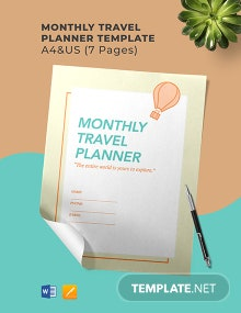Monthly Travel Planner Template