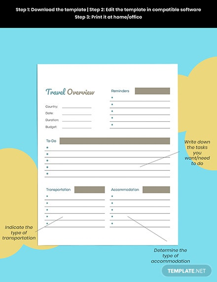 Daily Travel Planner template Editable