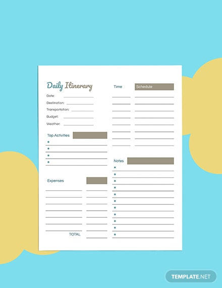 Daily Travel Planner template Format