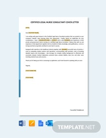 Free Certified Legal Nurse Consultant Cover Letter Template