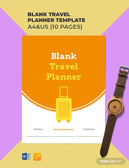 Free Blank Travel Planner Template