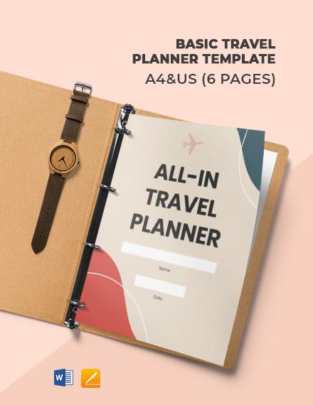 Free Basic Travel Planner Template