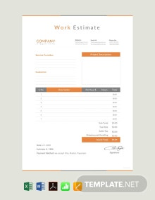 Free Work Estimate Template