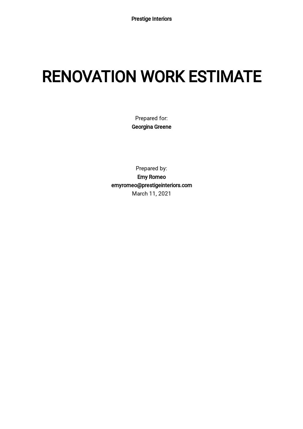 Work Estimate Template