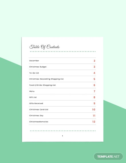 Christmas Holiday Planner Format