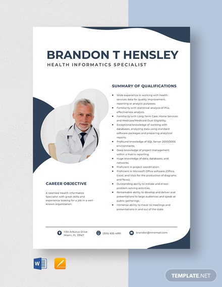 Health Informatics Specialist Resume Template