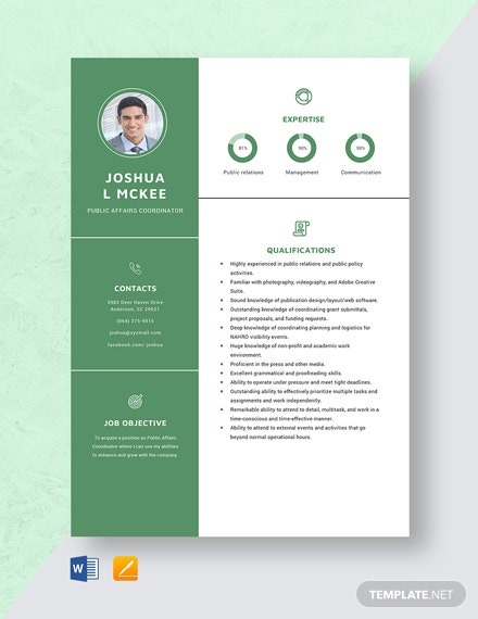 Public Affairs Coordinator Resume Template