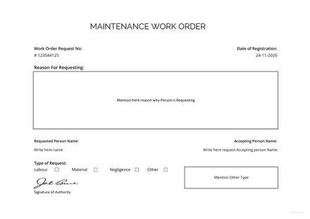 Free Maintenance Work Order Template
