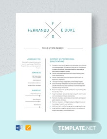 Public Affairs Manager Resume Template